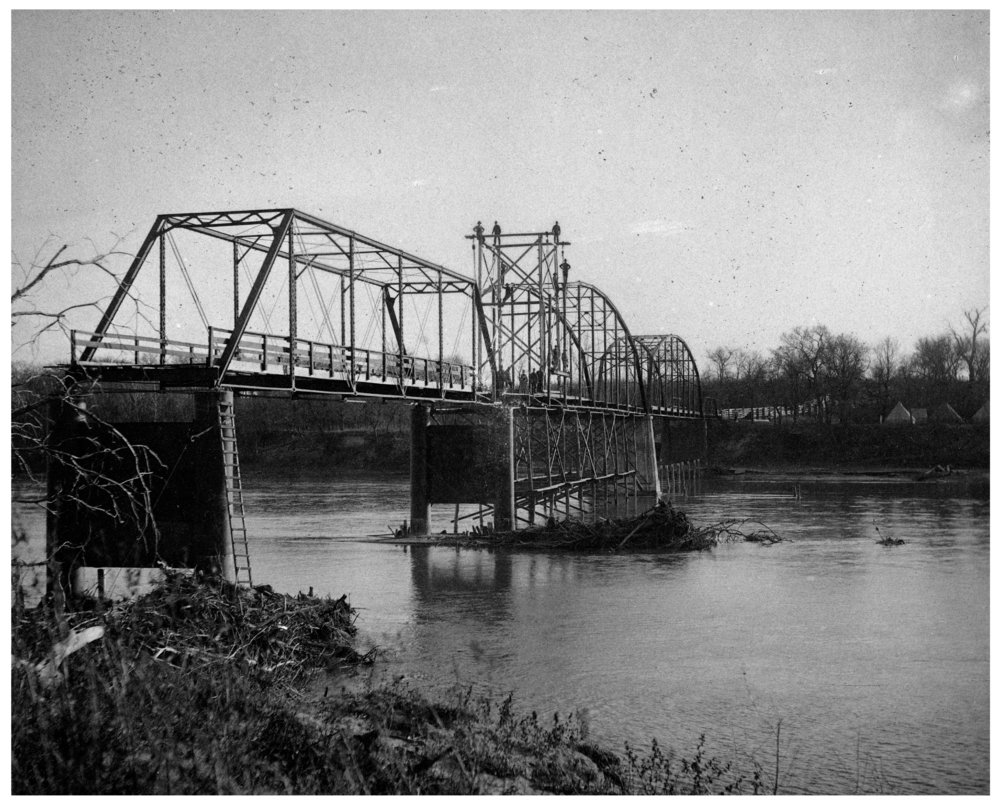 Construction of bridge over Kansas River in Maple Hill, Kansas