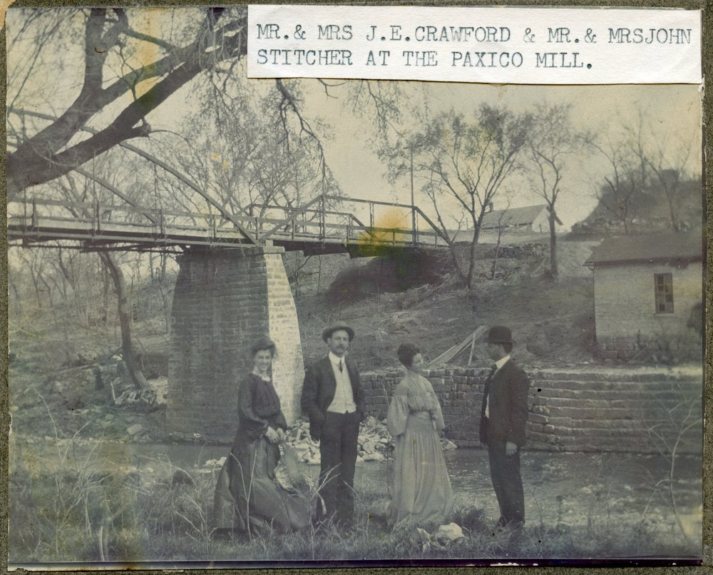 Two couples at the flour mill in Paxico, Kansas