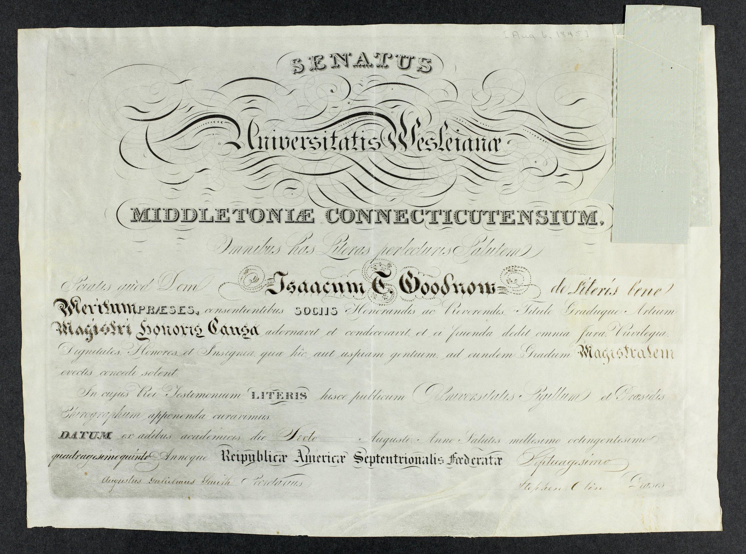 Isaac T. Goodnow diplomas - 1