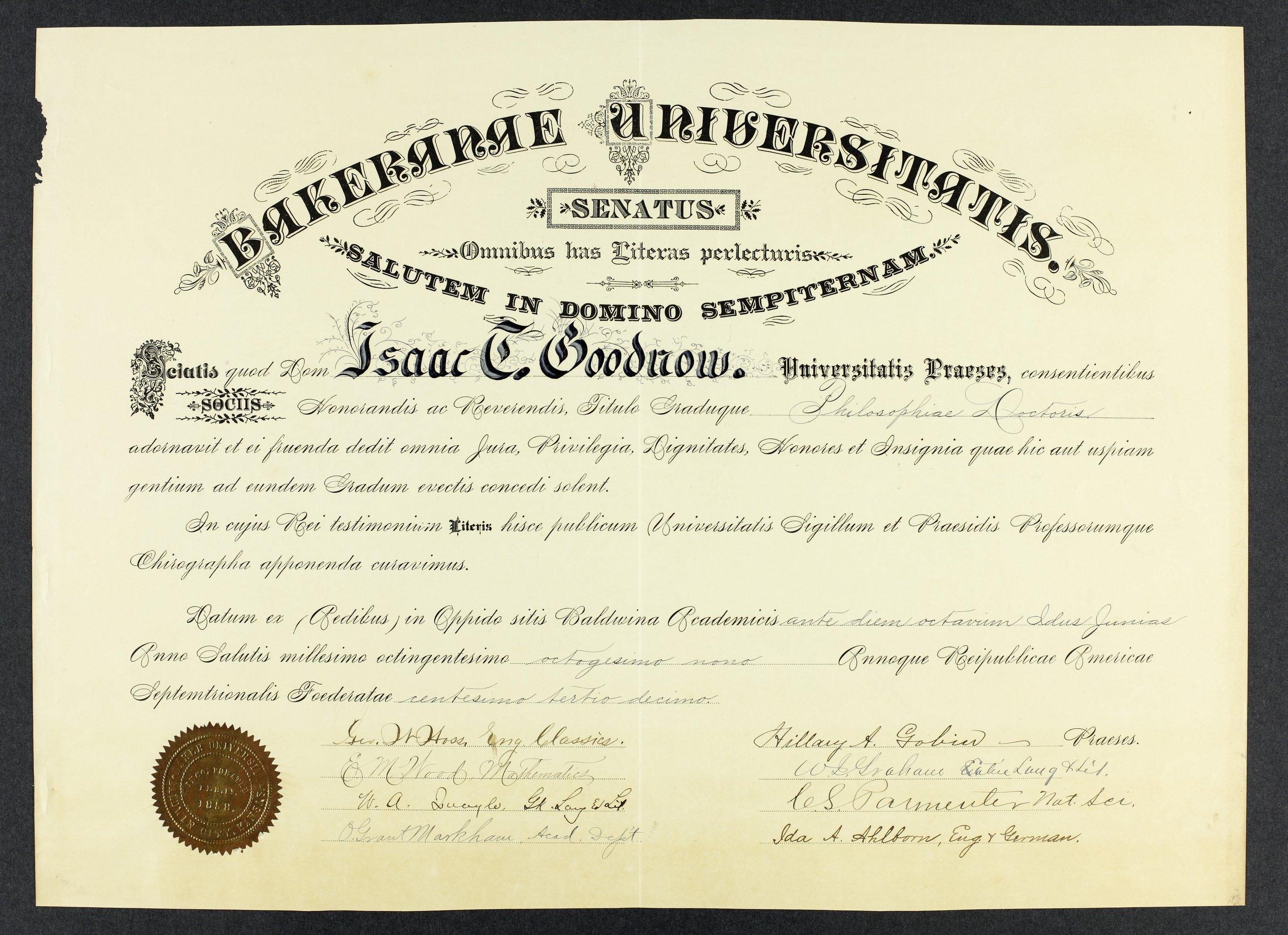 Isaac T. Goodnow diplomas - 2