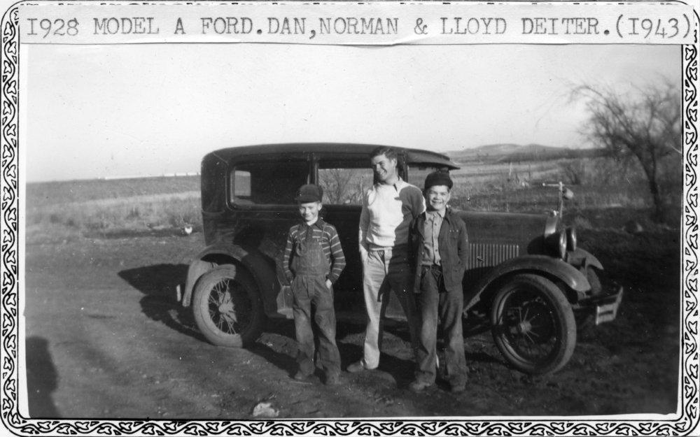 Deiter boys with Model A Ford