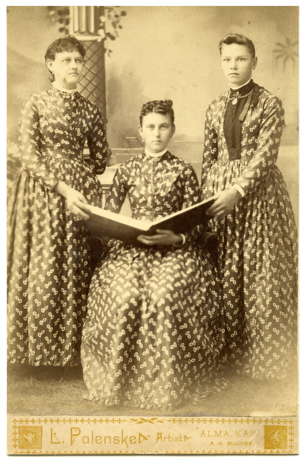 Three unidentified women in Alma, Kansas - 1