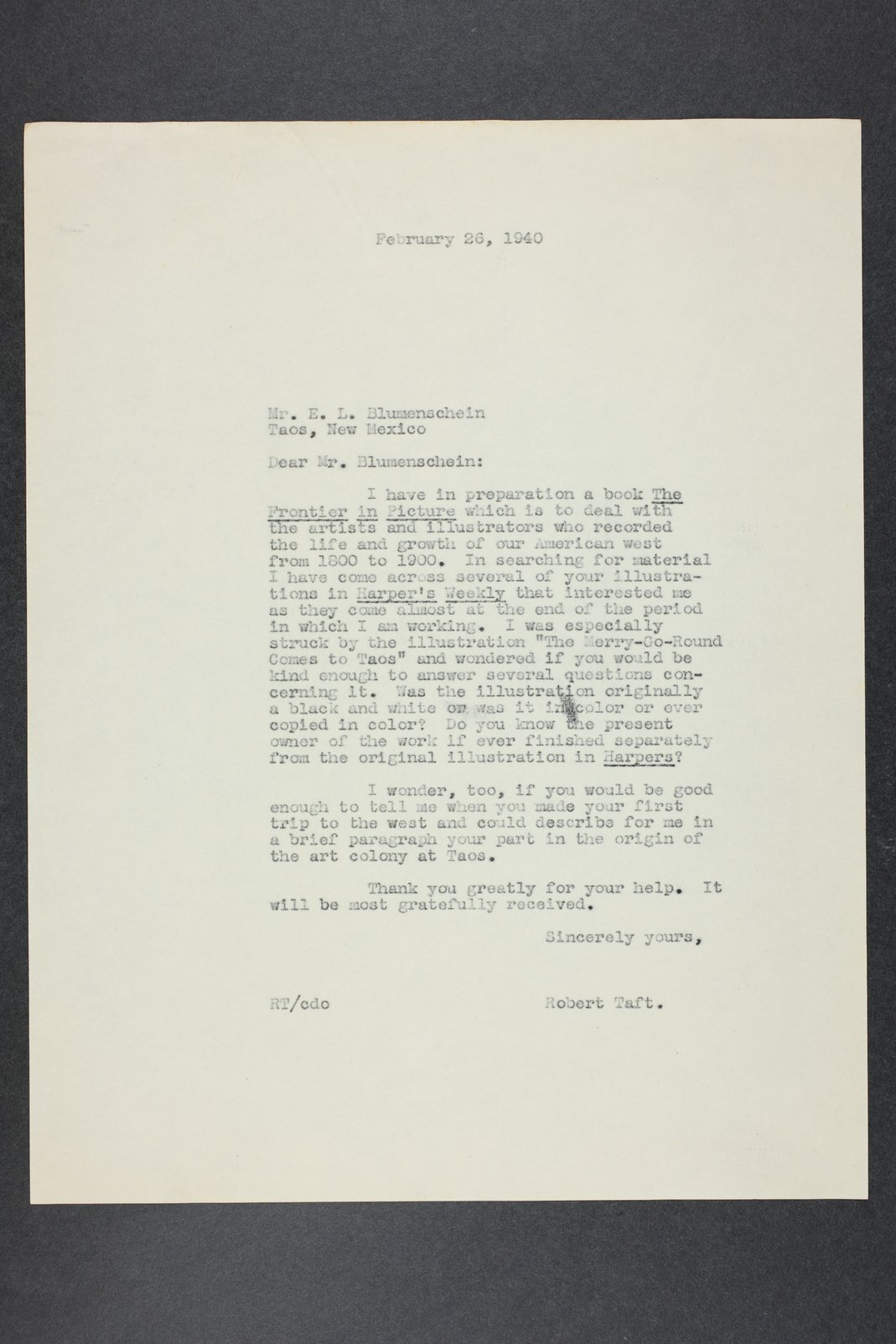 Robert Taft correspondence related to frontier artists, Blumenshein - Cary - 1  [Folder 1, Ernest L. Blumenshein]