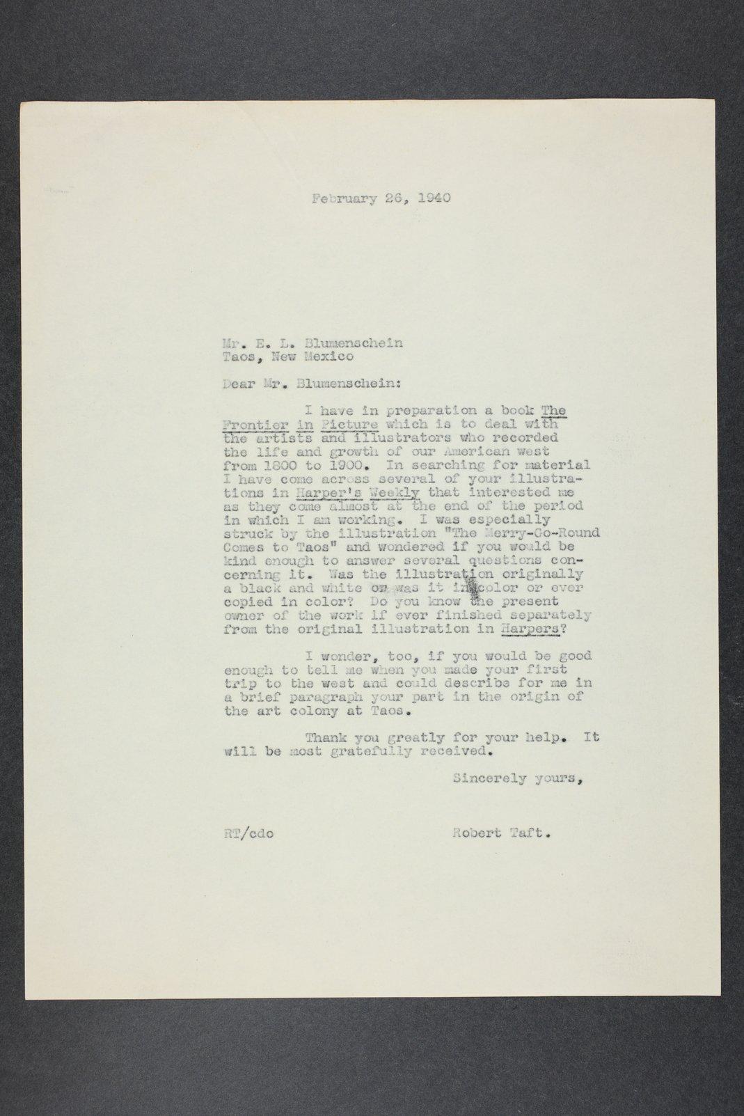 Robert Taft correspondence related to frontier artists, Blumenshein - Cary - 1  [Folder 1, Ernest L. Blumenshein]