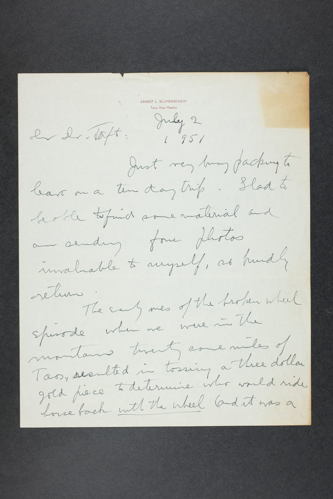 Robert Taft correspondence related to frontier artists, Blumenshein - Cary - 5