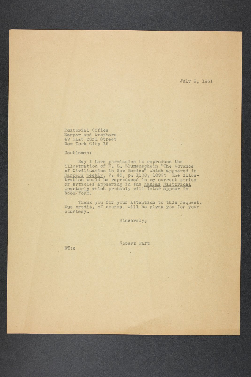 Robert Taft correspondence related to frontier artists, Blumenshein - Cary - 7