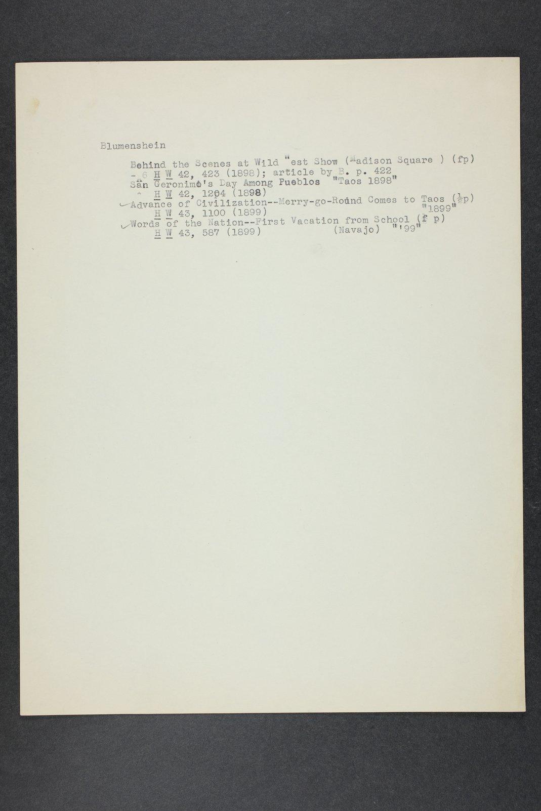 Robert Taft correspondence related to frontier artists, Blumenshein - Cary - 12