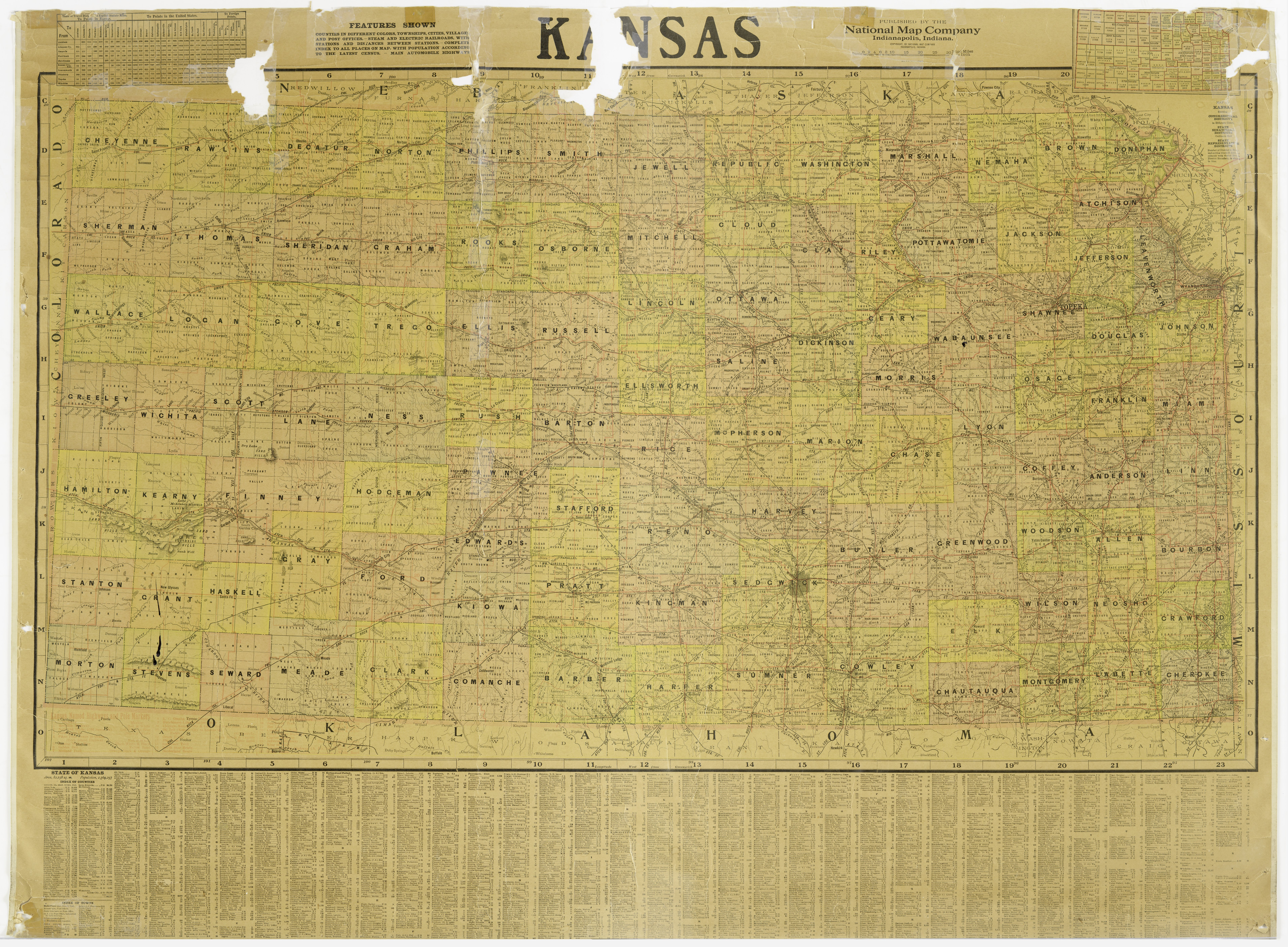 Map of the state of Kansas