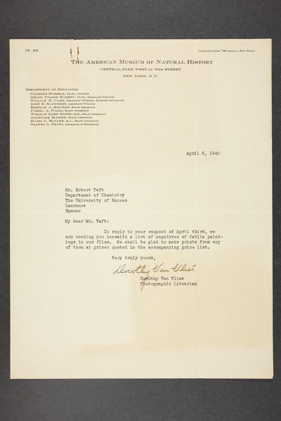 Robert Taft correspondence related to frontier artists, Catlin - Deming - 3