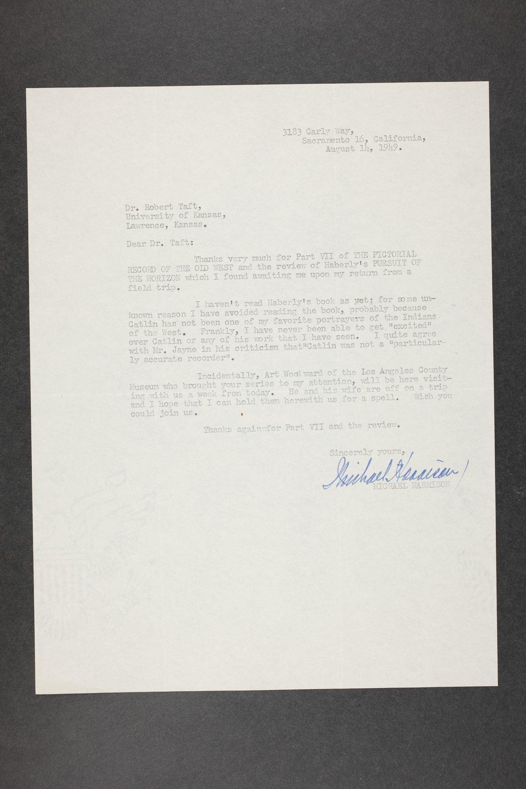 Robert Taft correspondence related to frontier artists, Catlin - Deming - 7