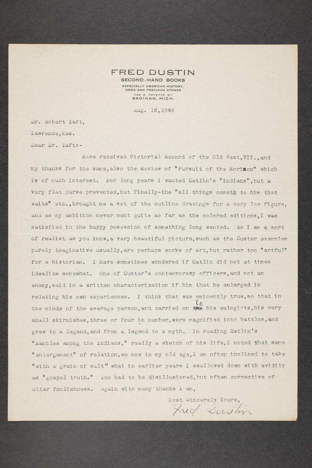 Robert Taft correspondence related to frontier artists, Catlin - Deming - 8