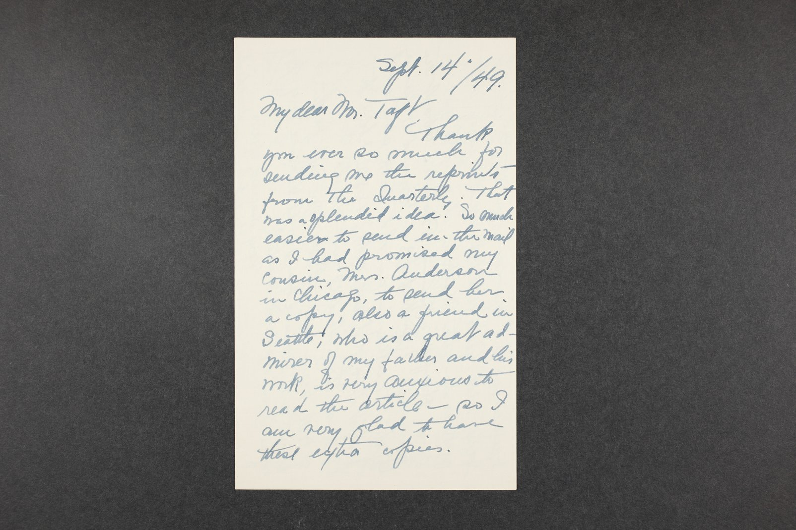 Robert Taft correspondence related to frontier artists, Catlin - Deming - 10