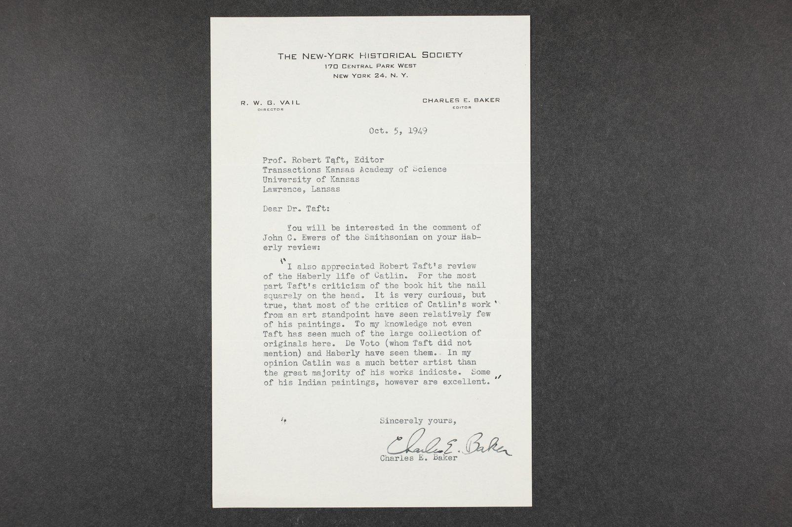 Robert Taft correspondence related to frontier artists, Catlin - Deming - 12