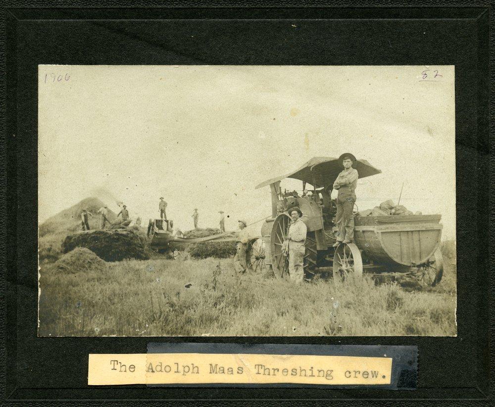 Adolph Maas' threshing crew, Alma, Kansas