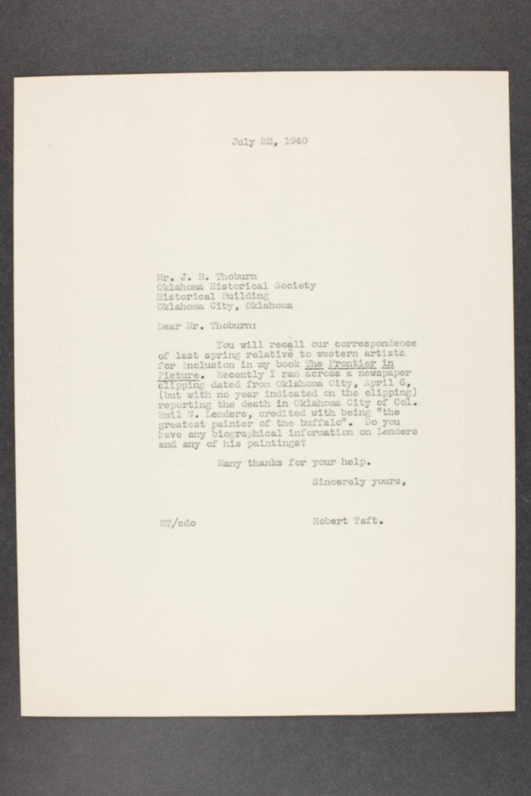 Robert Taft correspondence related to frontier artists, Landers - Metcalf - 1  [Folder 1, Emil W. Landers]