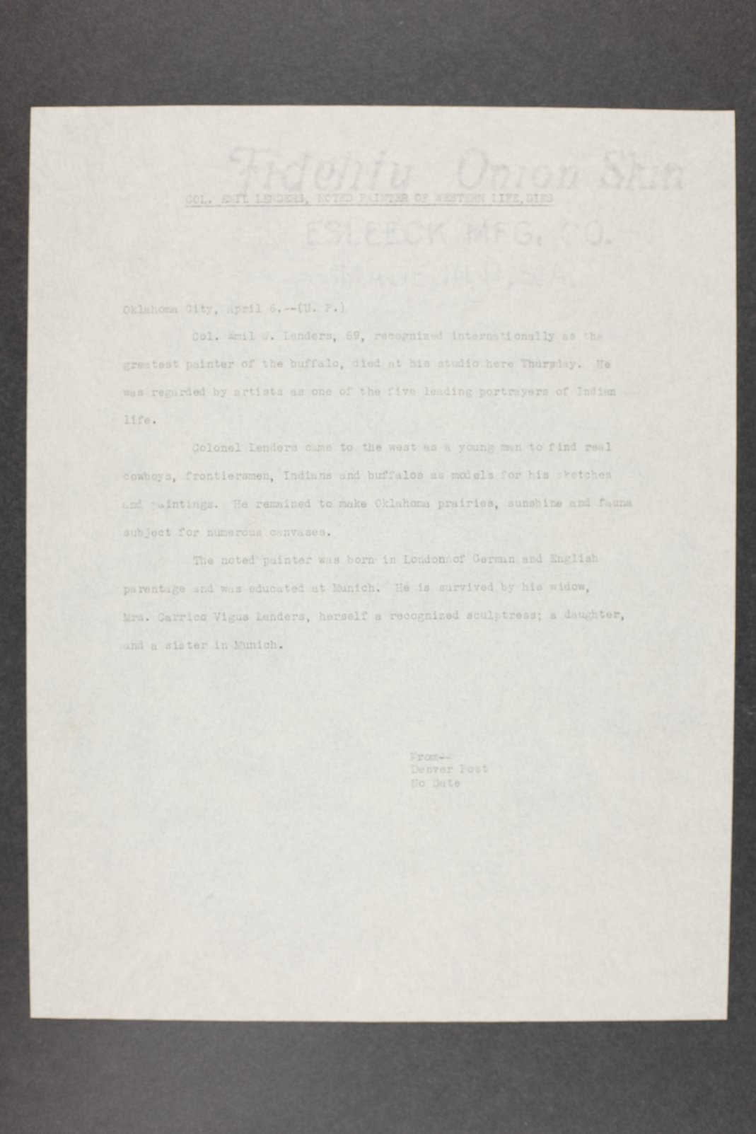 Robert Taft correspondence related to frontier artists, Landers - Metcalf - 5