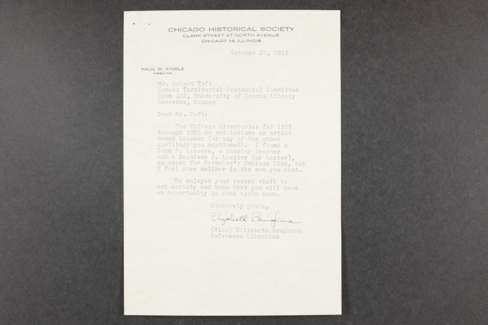 Robert Taft correspondence related to frontier artists, Landers - Metcalf - 1  [Folder 2, Charles Alexandre Lesueur]