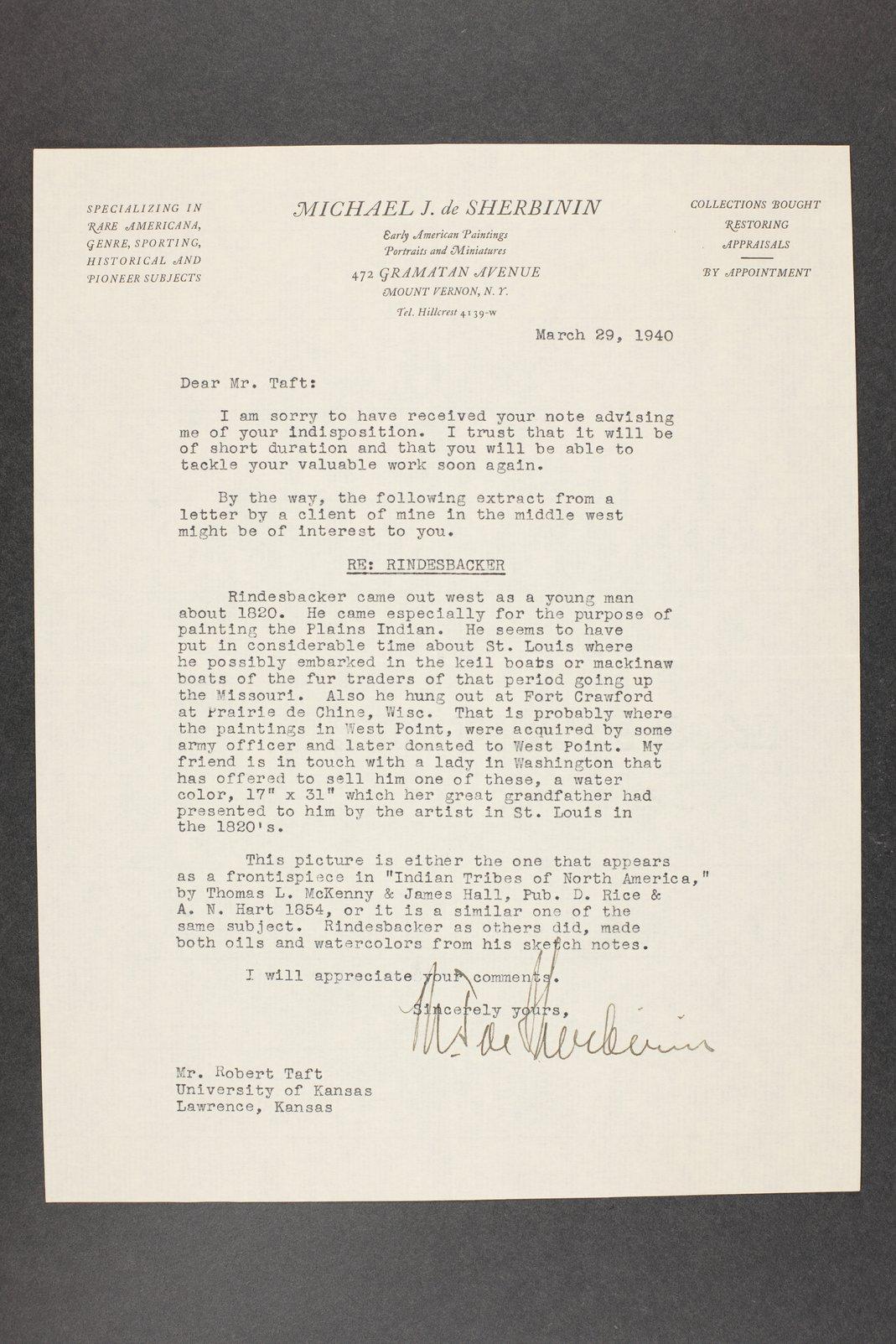 Robert Taft correspondence related to frontier artists, Rindesbacker - Schott - 1  [Folder 1, Peter Rindesbaker]