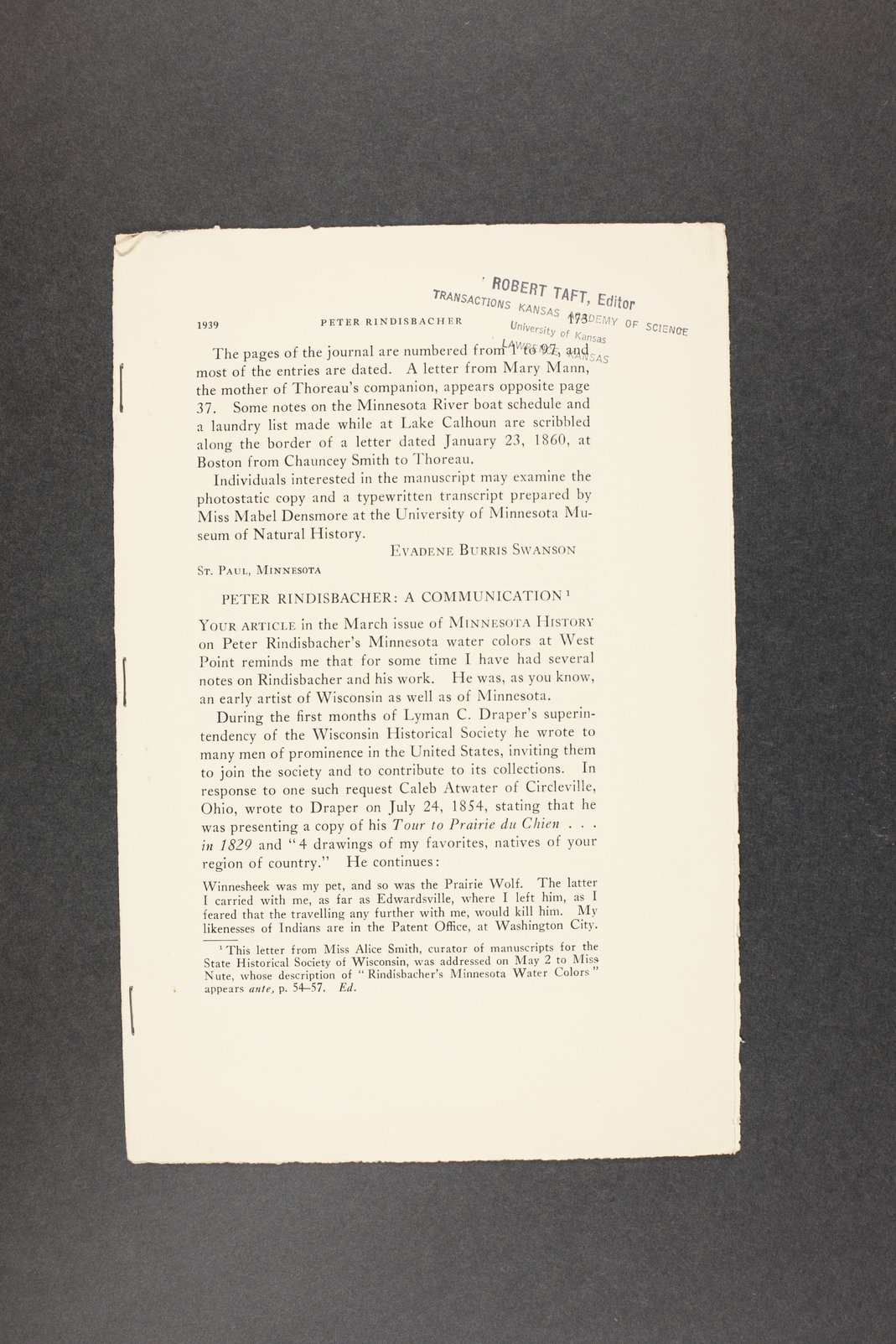 Robert Taft correspondence related to frontier artists, Rindesbacker - Schott - 11