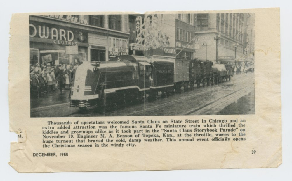 Atchison, Topeka & Santa Fe Railway's miniature train and the engineer Merle A. Benson - 3