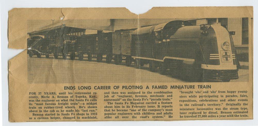 Atchison, Topeka & Santa Fe Railway's miniature train and the engineer Merle A. Benson - 4