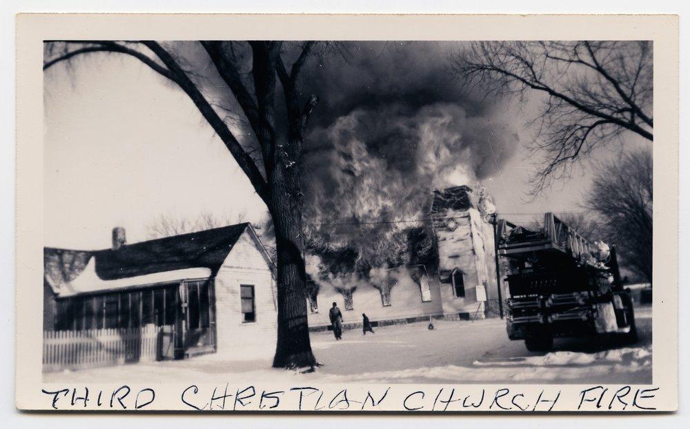 Fire at the Third Christian Church in Topeka, Kansas - 1