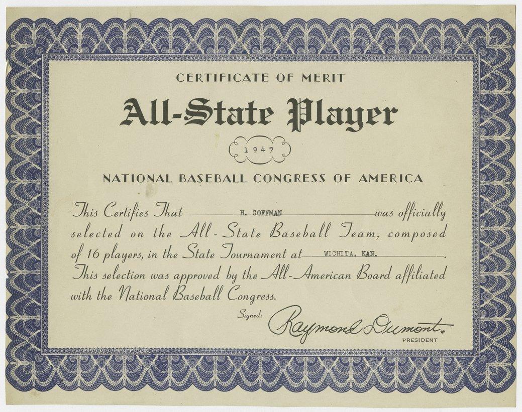 All State Player Semi Pro Baseball Certificates Kansas Memory