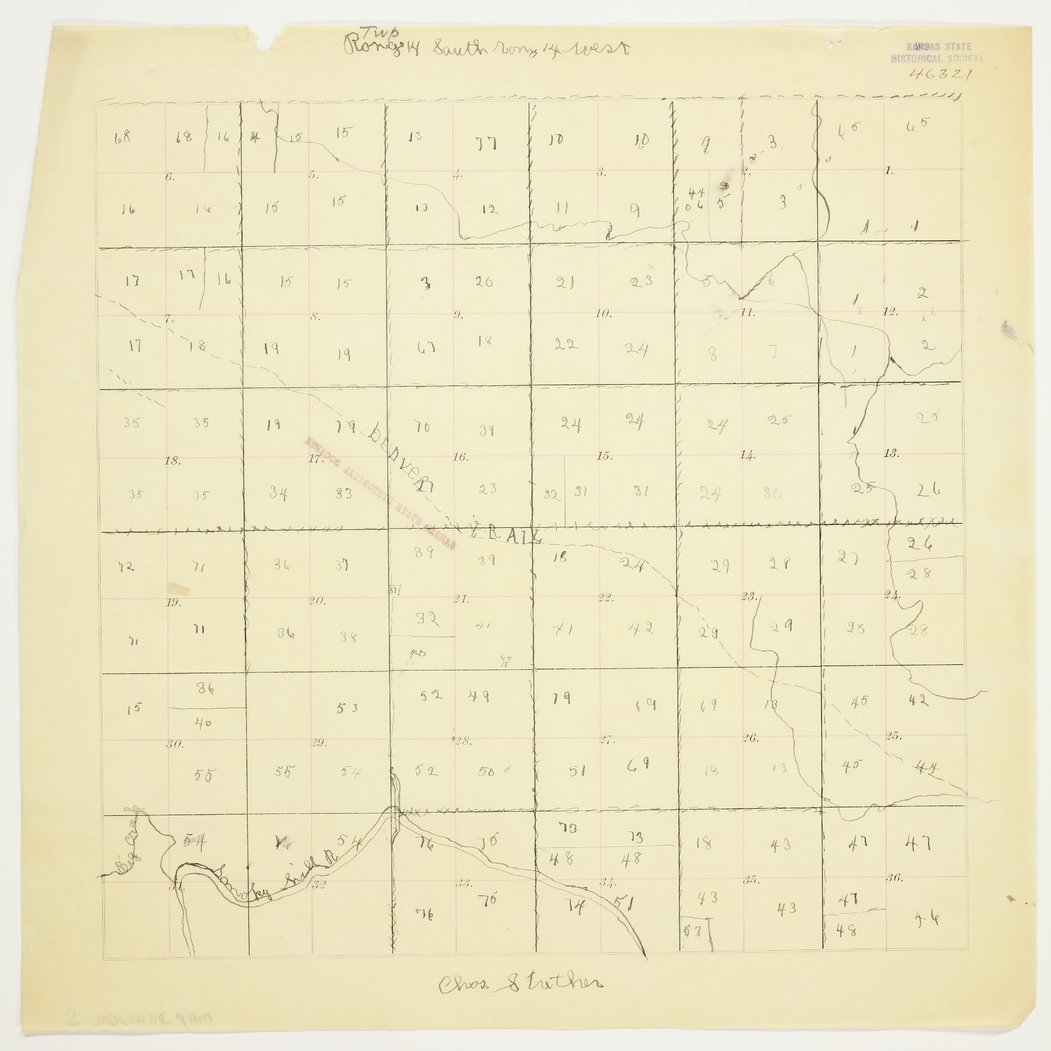 Charles Strecker's map of Township 14 South, Range 14 West, Russell County - 1