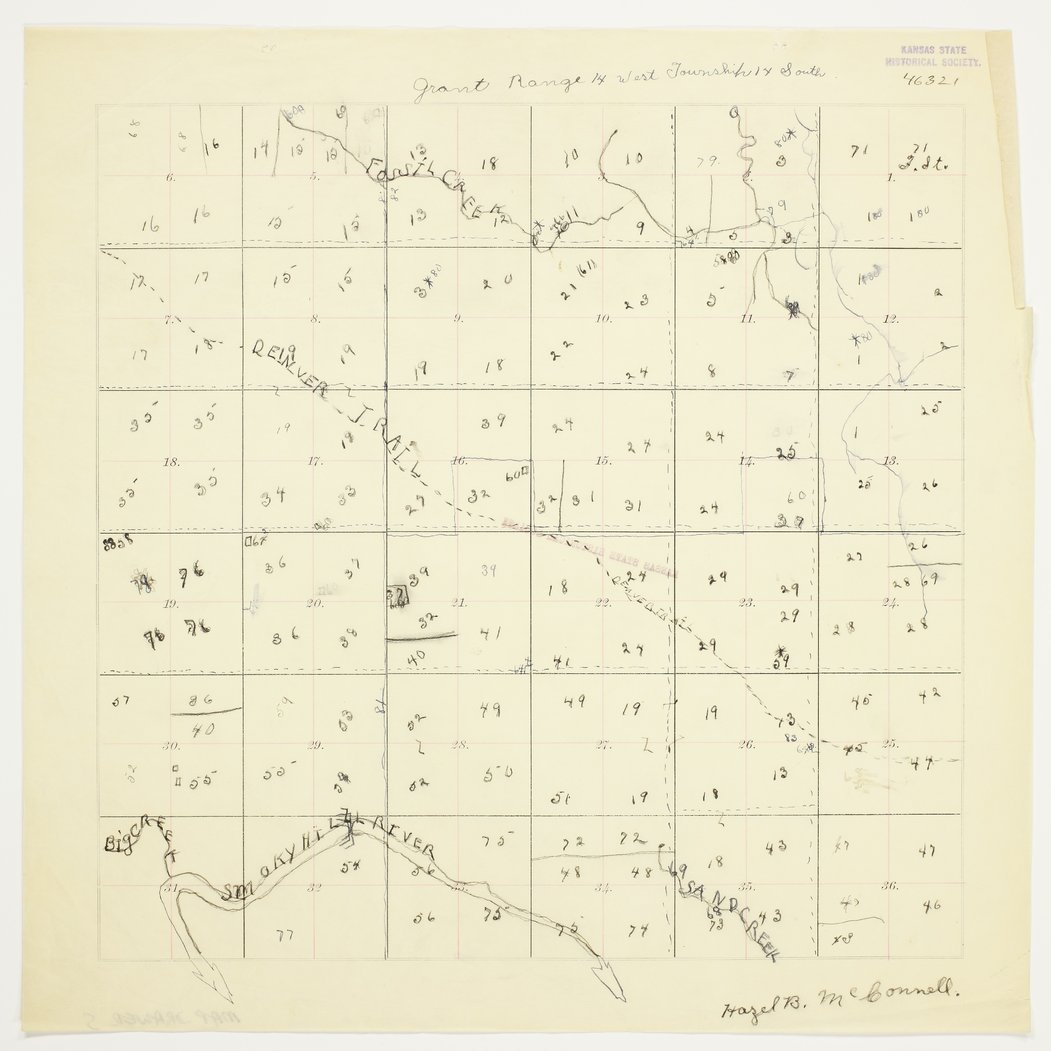 Hazel McConnell's map of Township 14 South, Range 14 West, Russell County - 1