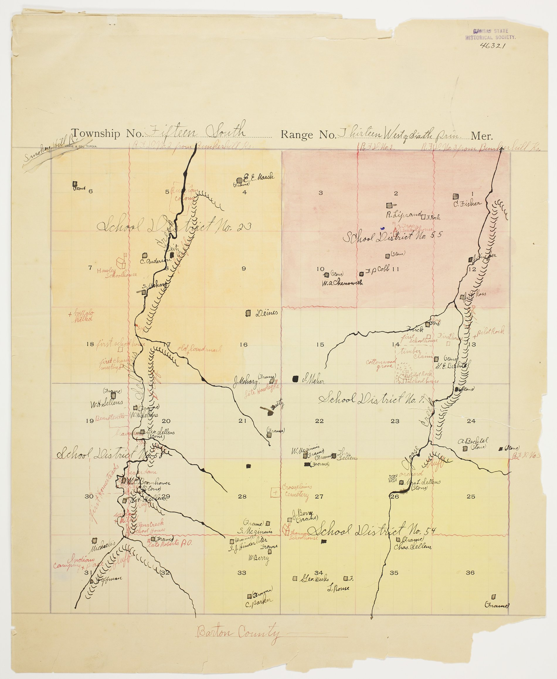 Clyde Markley's map of Township 15 South, Range 13 West, Russell County - 1