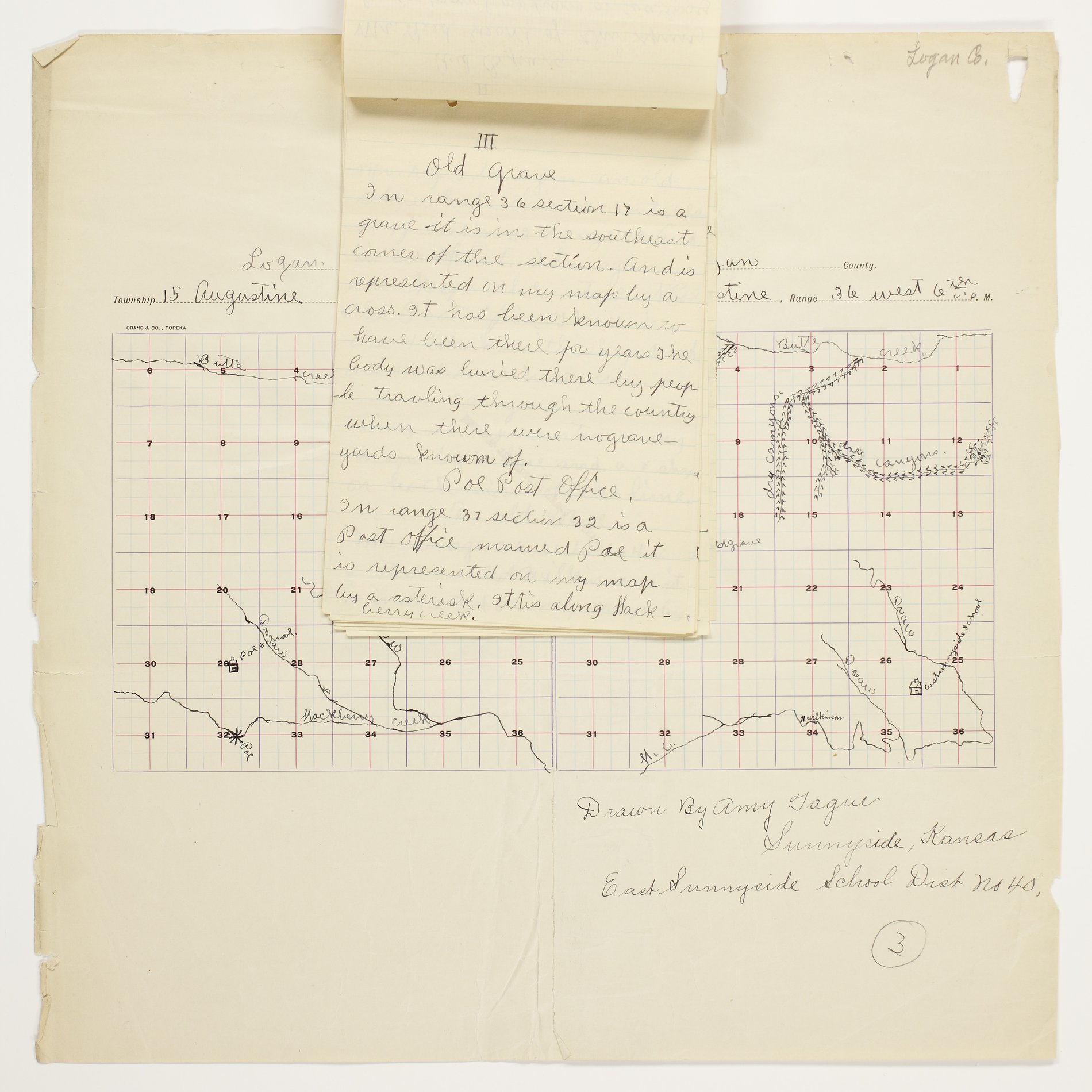 Amy O. Tague's map of Augustine Township, Logan County - 3