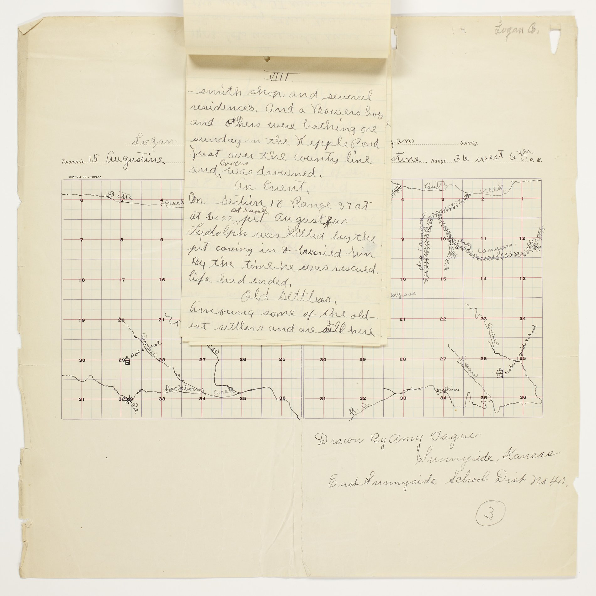 Amy O. Tague's map of Augustine Township, Logan County - 8