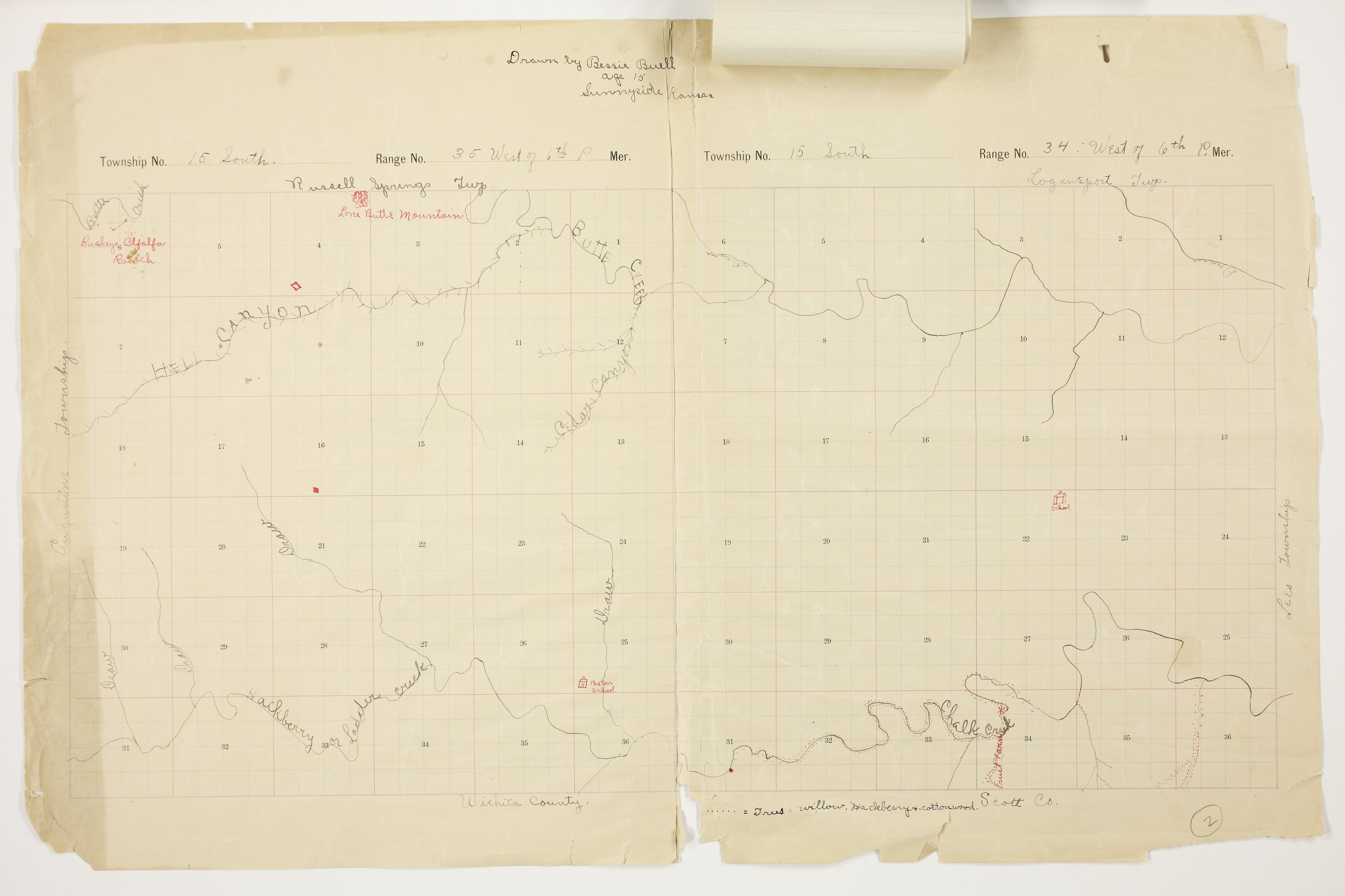 Bessie Buell's map of Paxton Township, Logan County - 1