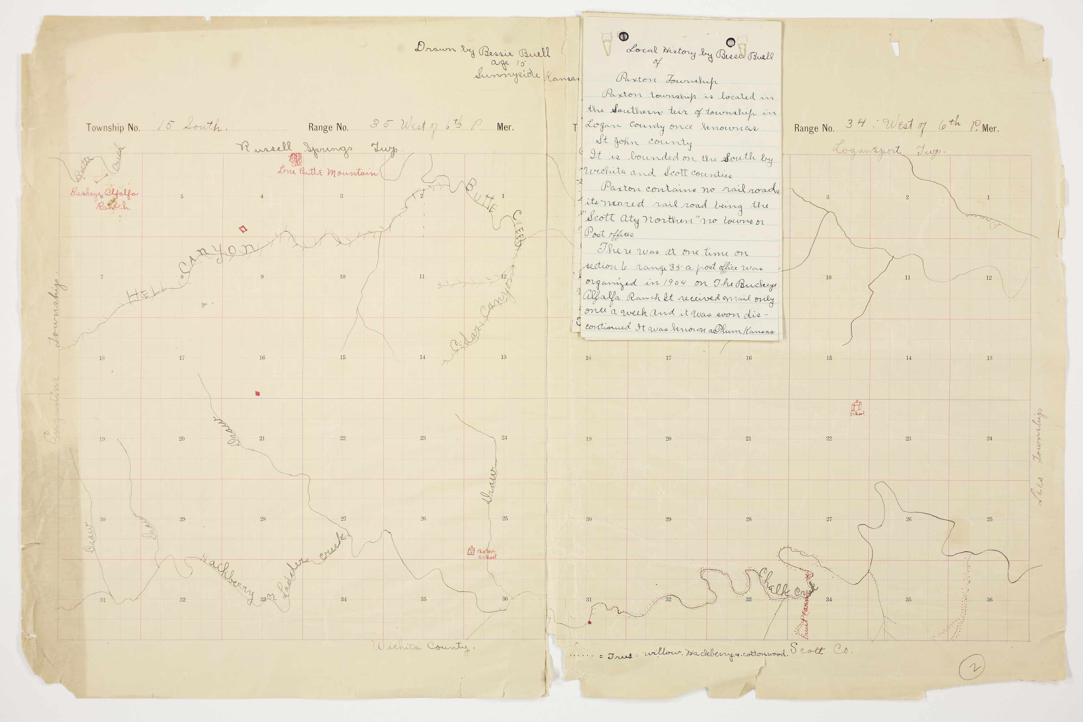 Bessie Buell's map of Paxton Township, Logan County - 2