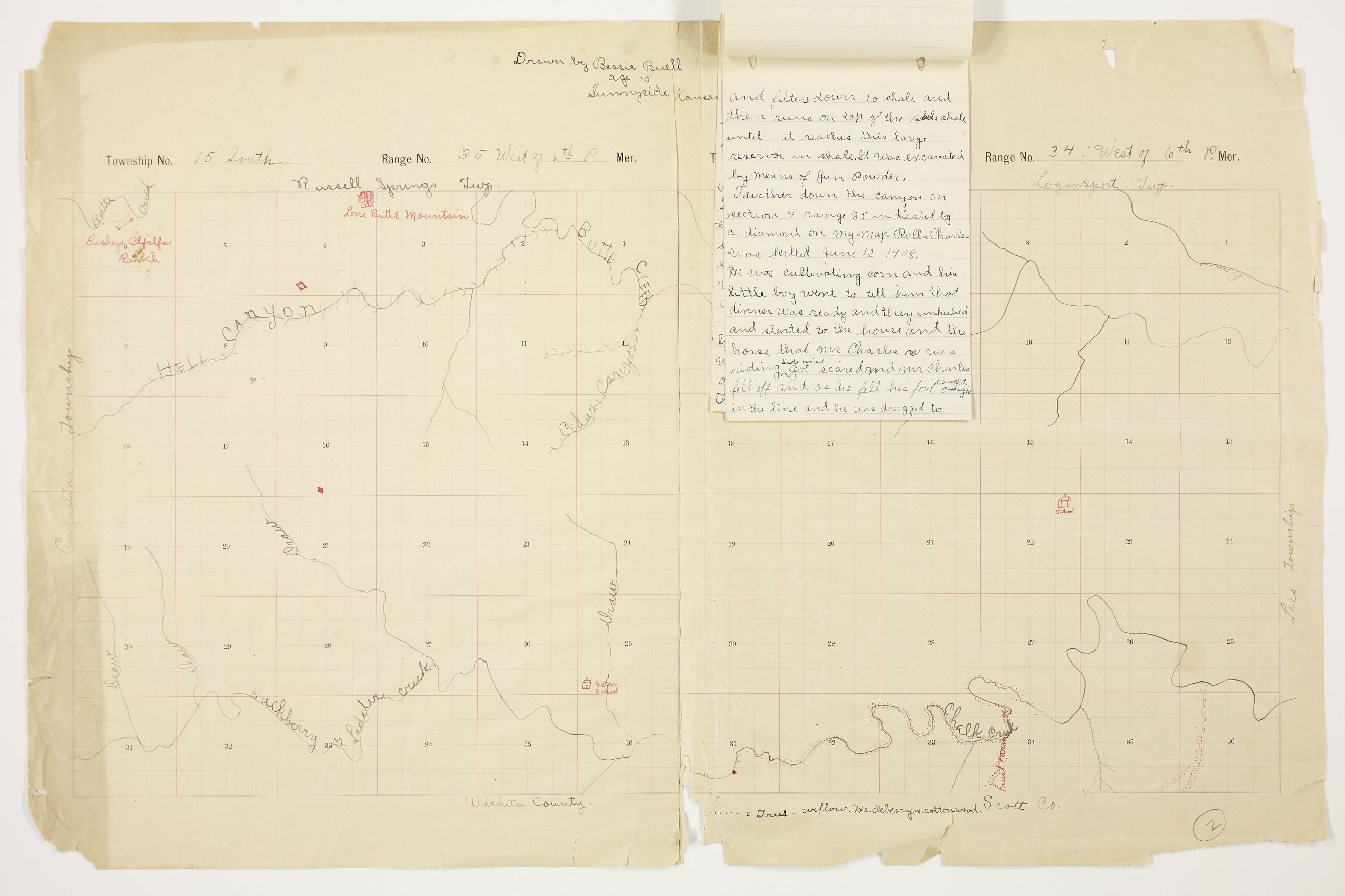 Bessie Buell's map of Paxton Township, Logan County - 4