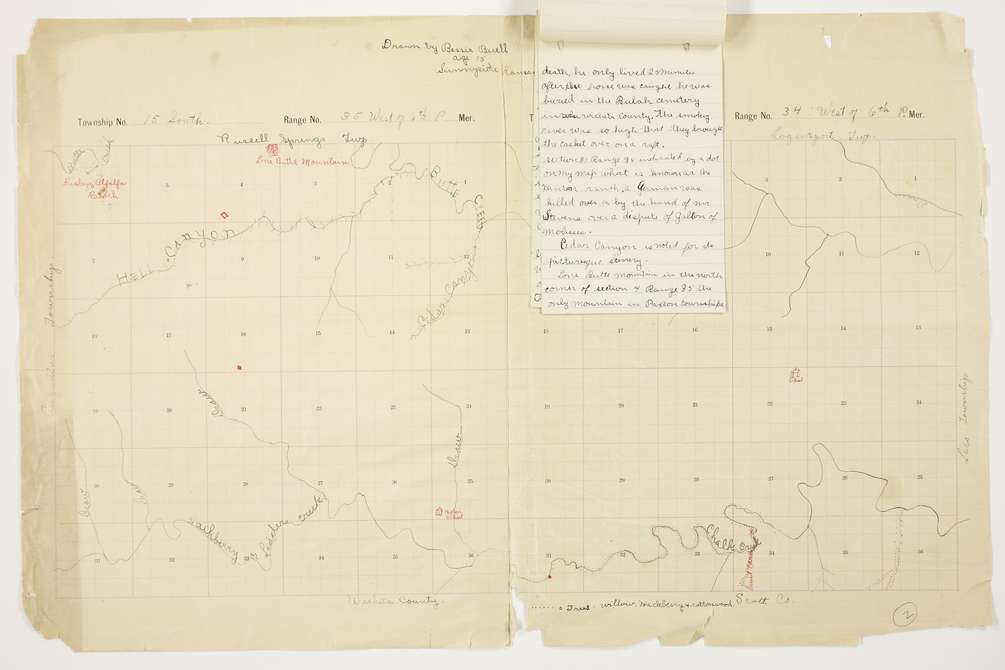 Bessie Buell's map of Paxton Township, Logan County - 5