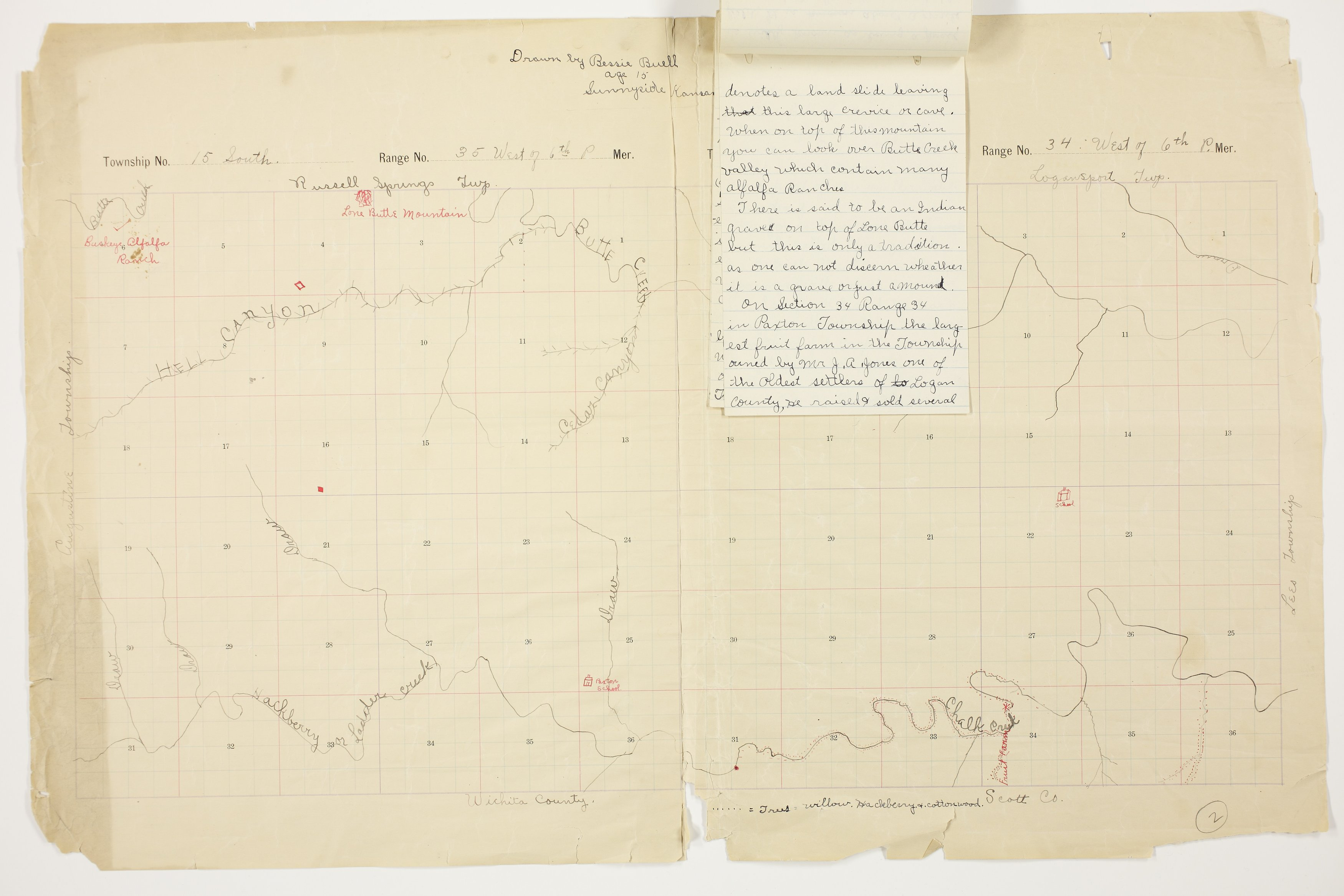 Bessie Buell's map of Paxton Township, Logan County - 7