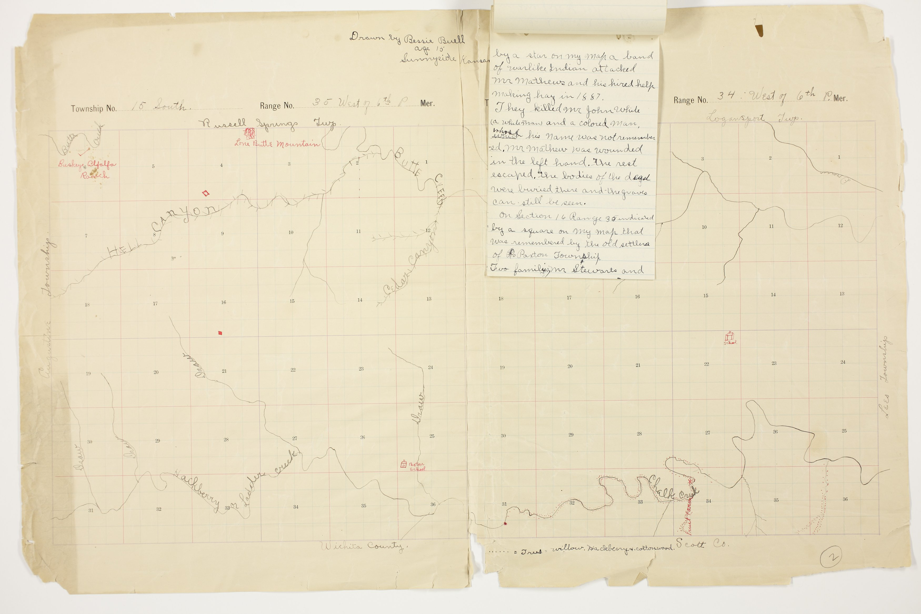 Bessie Buell's map of Paxton Township, Logan County - 9
