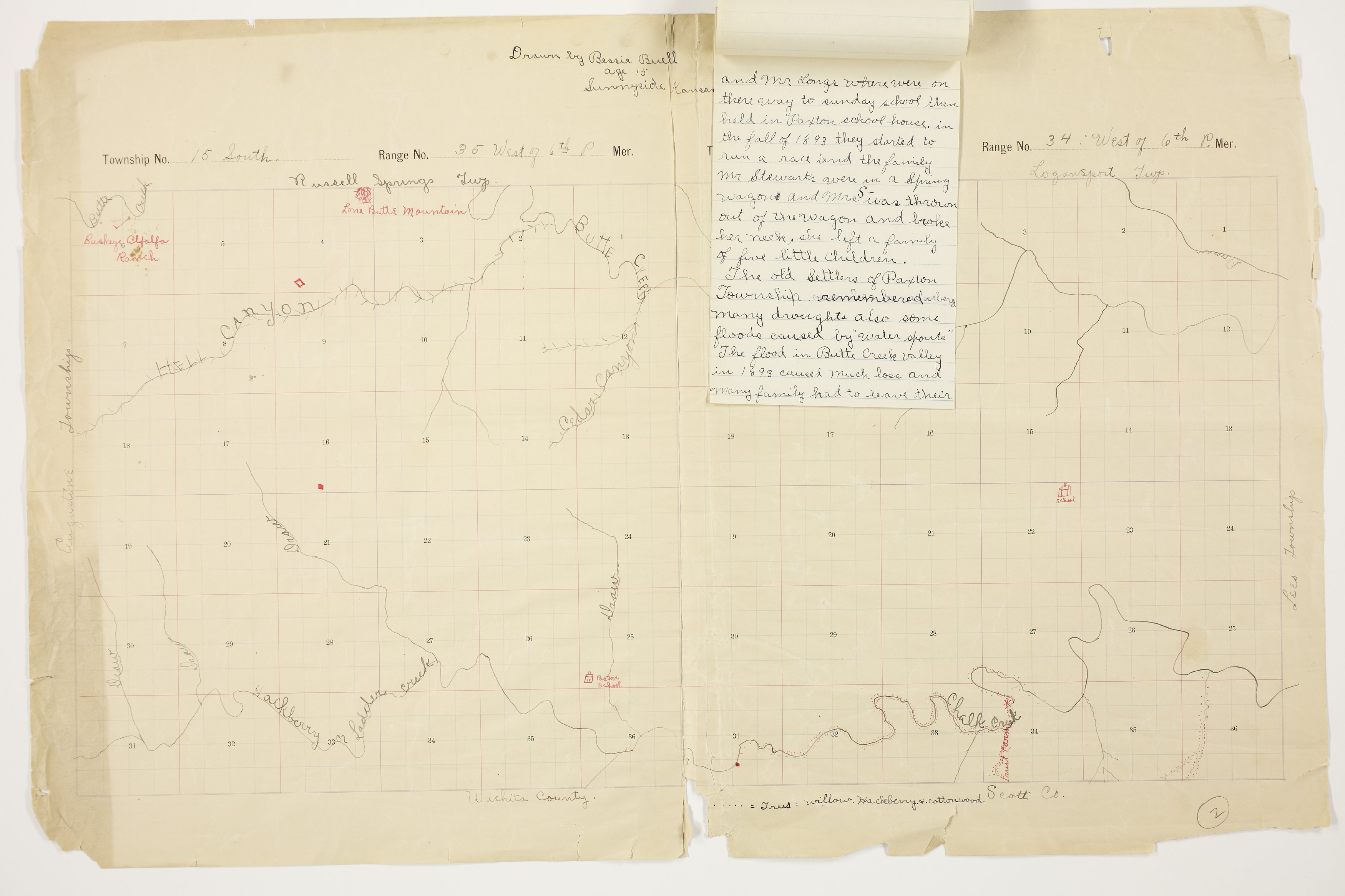 Bessie Buell's map of Paxton Township, Logan County - 10