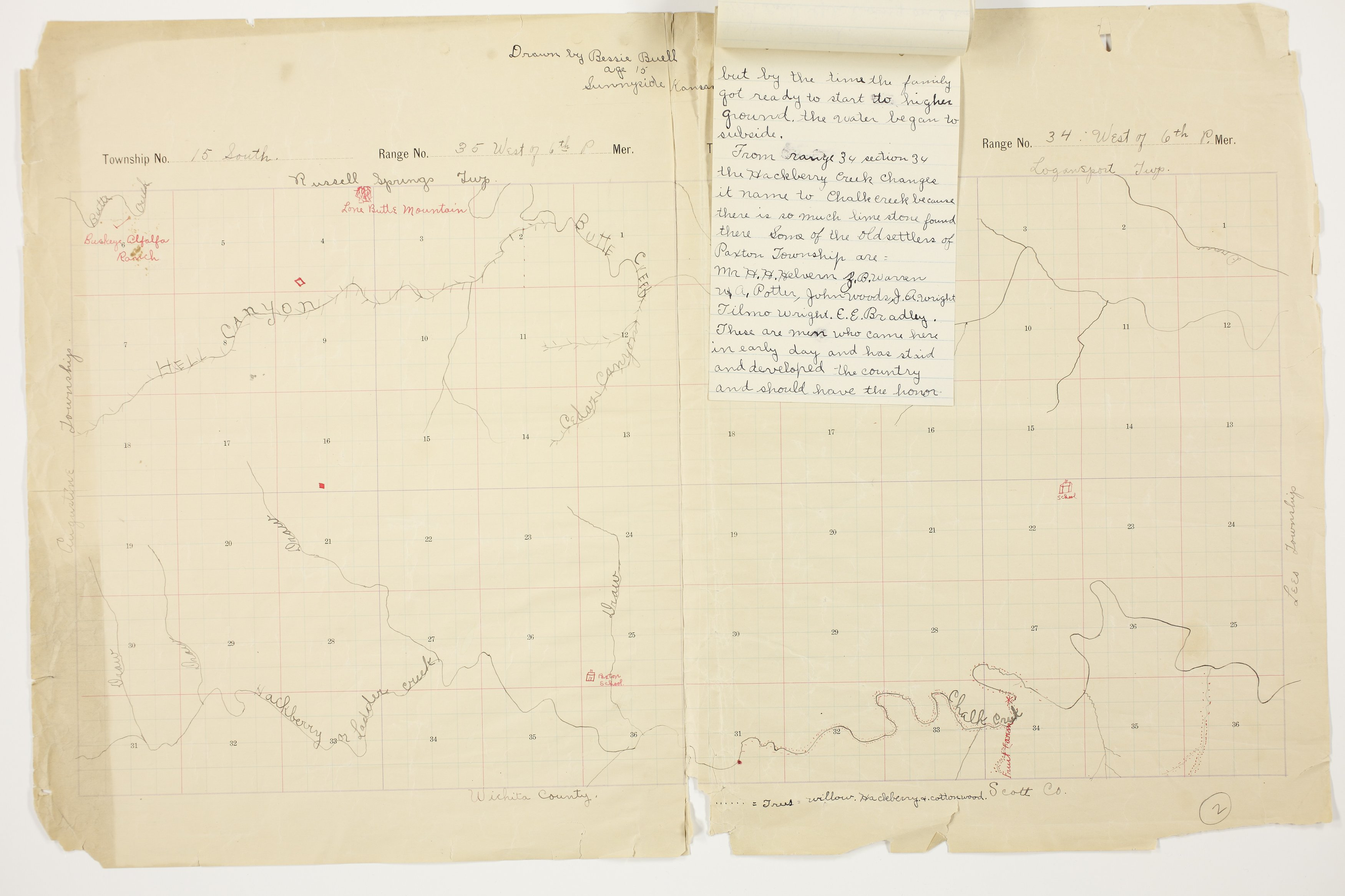 Bessie Buell's map of Paxton Township, Logan County - 12