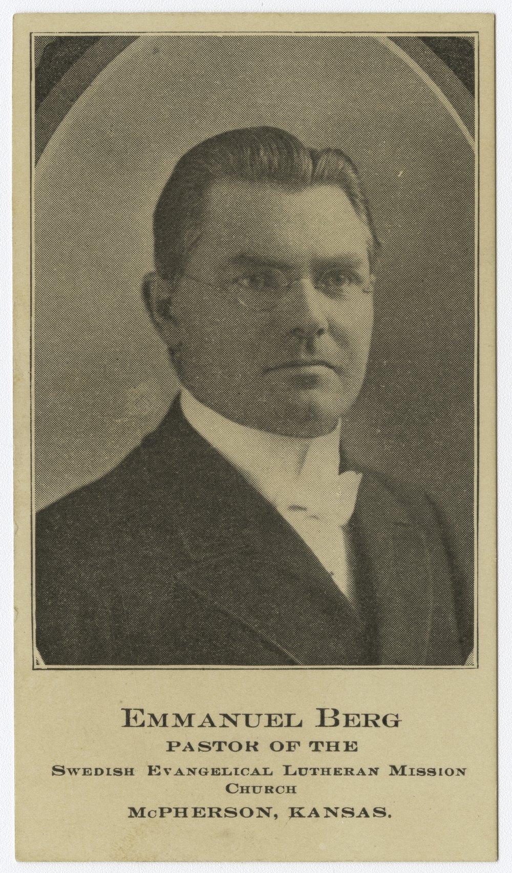 Emmanuel Berg calling card, McPherson, Kansas - 1