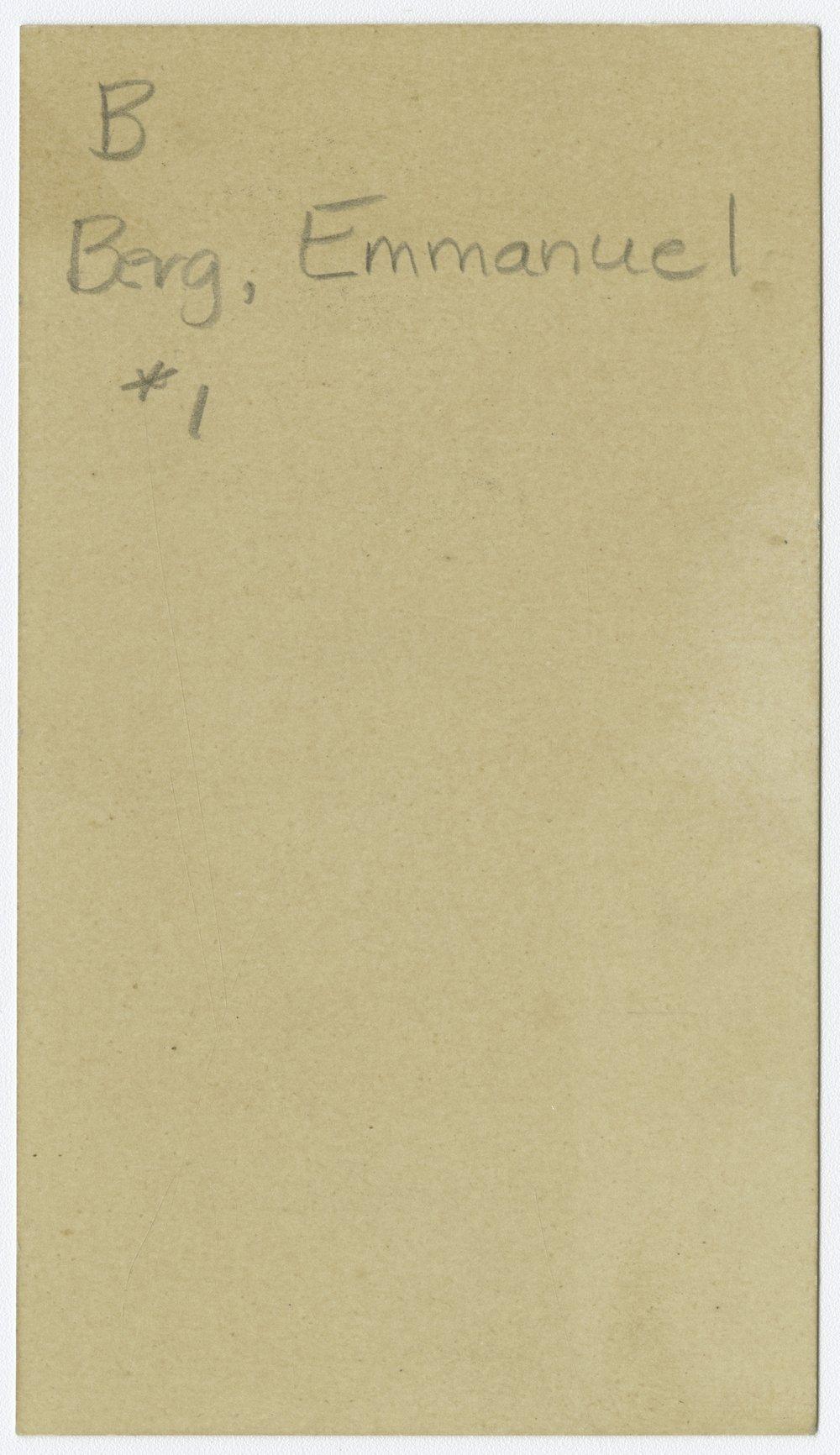 Emmanuel Berg calling card, McPherson, Kansas - 2
