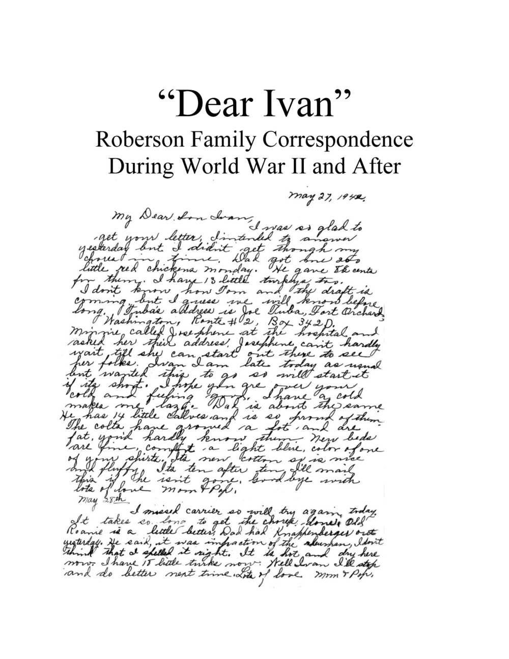 Roberson family correspondence during and after World War II -