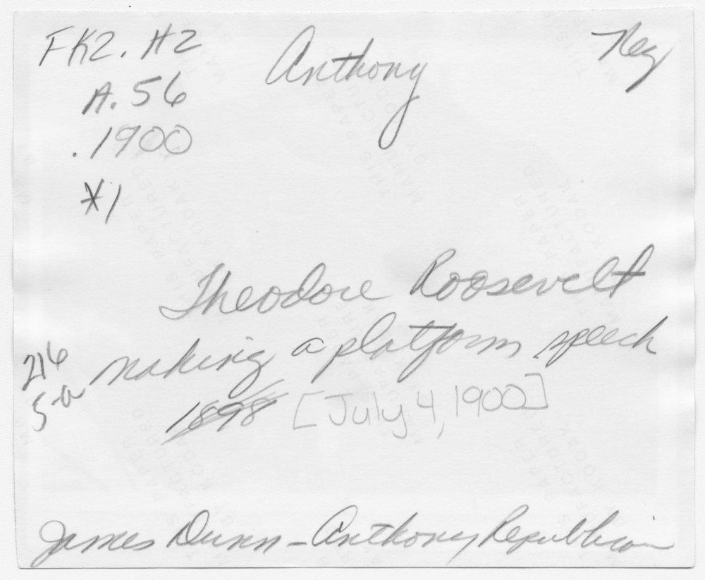 Theodore Roosevelt, Anthony, Kansas - 2