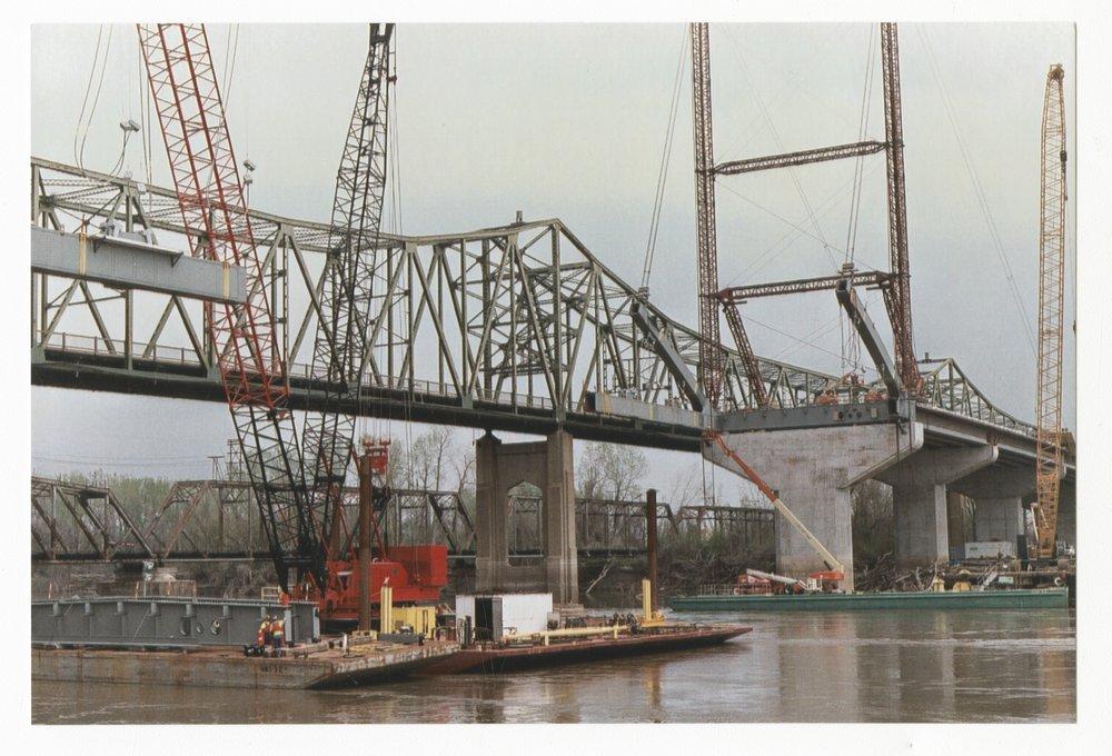 Construction on the Amelia Earhart Memorial bridge at Atchison, Kansas - 2