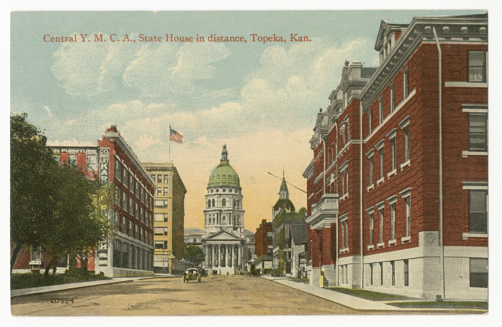 Central Y. M. C. A. with the Statehouse in the distance in Topeka, Kansas - 1