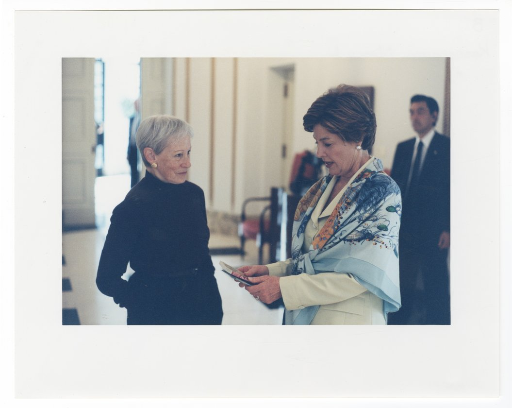 Nancy Landon Kassebaum Baker with President George Bush and Laura Bush - 3
