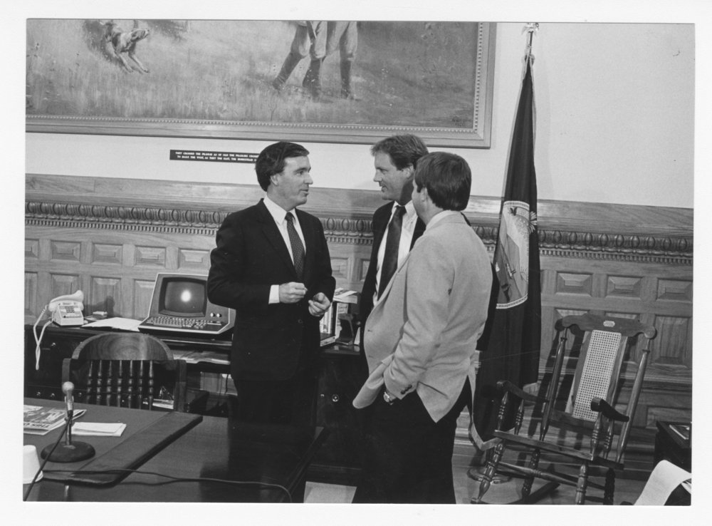 George Brett and Dick Howser of the Kansas City Royals visiting Governor John Carlin - 1