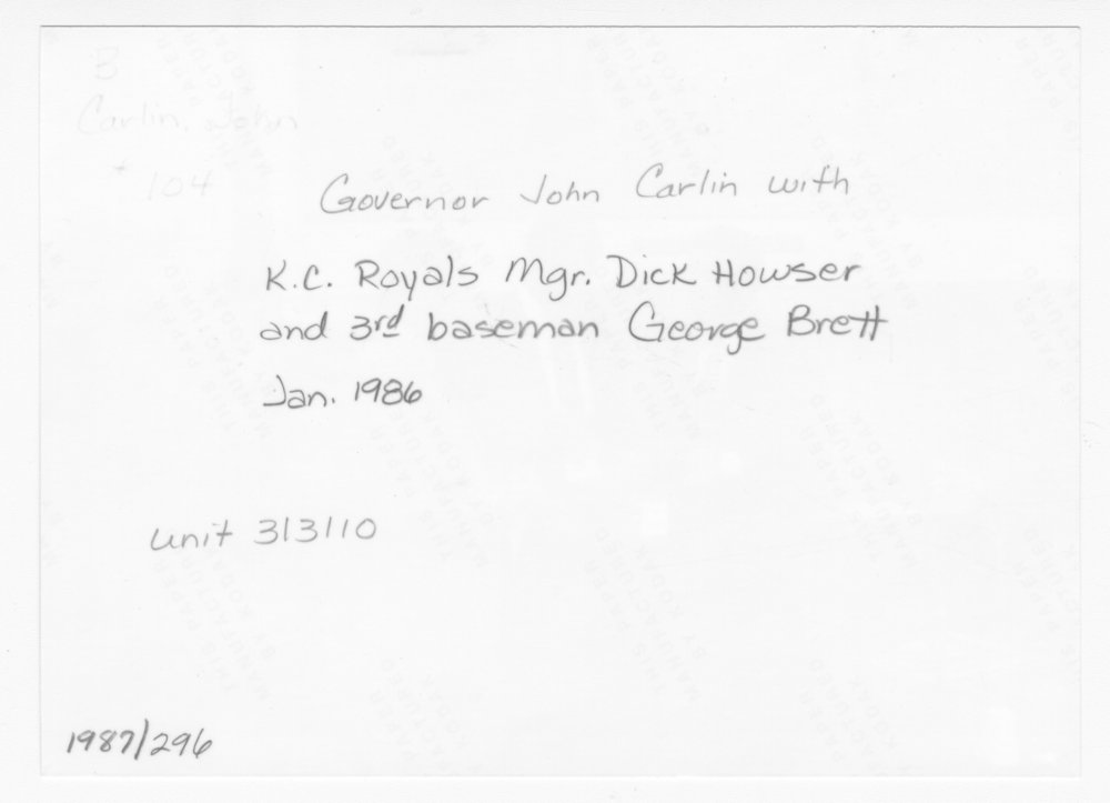 George Brett and Dick Howser of the Kansas City Royals visiting Governor John Carlin - 10