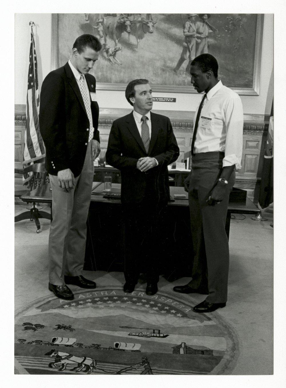 Greg Dreiling and Calvin Thompson visiting Governor John Carlin - 1